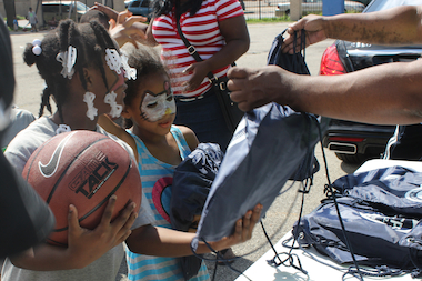 Nonprofit organization The Darren Group hosted its first back-to-school pep rally and backpack giveaway in 2014.