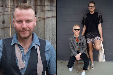 The two #FlatsProject finalists are the Public Barber, a barbershop envisioned by Andersonville resident Michael Setjskal (l) and Pine & Plastic, a brand of handcrafted, hand -ainted totes and accessories from Edgewater couple Brett Marlow, 26, and Andrew Wayne, 25 (r).