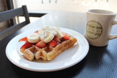Manager Paula Hamernick first tried the waffles while working as a flight attendant during a stopover in Belgium.