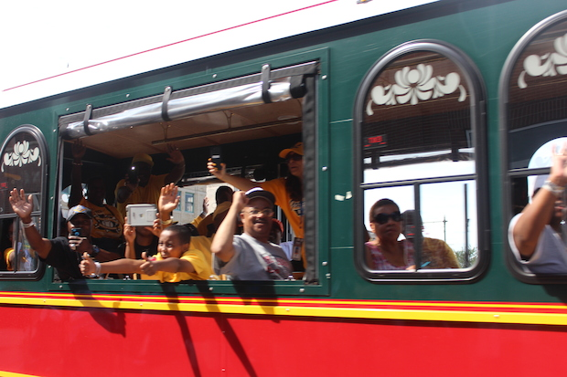 The Jackie Robinson West Parade on Aug. 27, 2014 traveled from the South Side to Downtown where a rally was held.