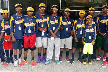 Jackie Robinson West players in their Great Lakes uniforms in preparation for the Little League World Series.