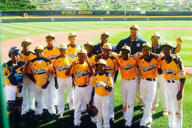 Jackie Robinson West's Little Leaguers are shown after winning their first Little League World Series game Thursday against Lynnwood, Washington. They lost to Las Vegas on Sunday.