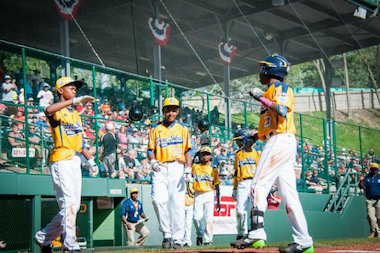 Jackie Robinson West players celebrate a victory over Lynnwood, Washington, on Thursday in the Little League World Series. They faced Las Vegas Sunday in South Williamsport, Pennsylvania.