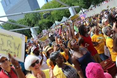 Thousands of Chicagoans came out to Millenium Park Thursday for a rally for Jackie Robinson West, the U.S. Little League World Series champions.