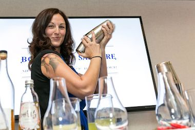 Bartender Liz Pearce works on her award-winning cocktail at the Bombay Sapphire competition.