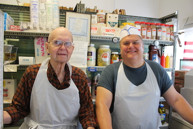Bob Szczytko and son Mike man the counter at Veteran Tamale Foods, 3133 S. Archer Ave.