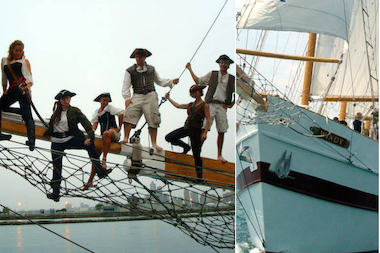 "The Tall Ship Windy at Navy Pier offers a ""Real Pirates of Inland Seas"" tour on the 148-foot four-mast schooner for $30."