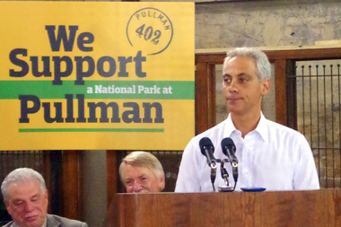 Rahm Emanuel made a last-minute stop at an event promoting the Pullman Historic District as a potential national park.