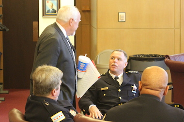 Police Supt. Garry McCarthy chats with Ald. Patrick O'Connor before Friday's hearing on crime stats.