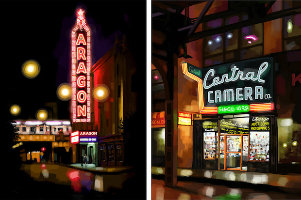 Lakeview artist Steve Connell fingerpaints Chicago nightscapes on his iPad.