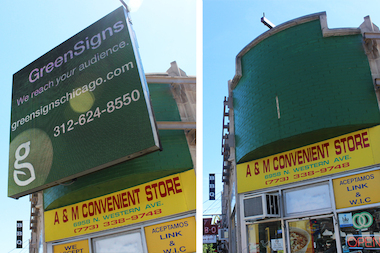 The sign, at 6958 N. Western Ave., was removed on judge's orders.