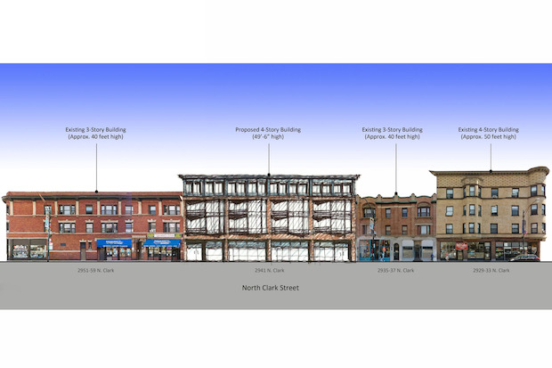 Developers want to build Roots Pizza and 19 apartments in a four-story building at 2941 N. Clark St.