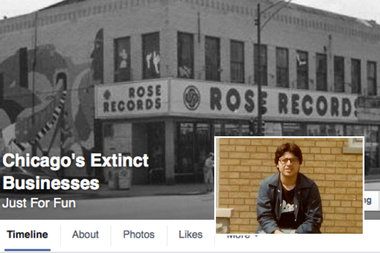"Bogan High School graduate Pete Kastanes (inset during his high school years), is the administrator for more than 20 Chicago-related Facebook pages, including the popular ""Chicago Extinct Businesses"" page."