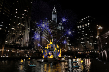 "A rendering of the planned ""Grand Spectacle"" at the Great Chicago Fire Festival Saturday."