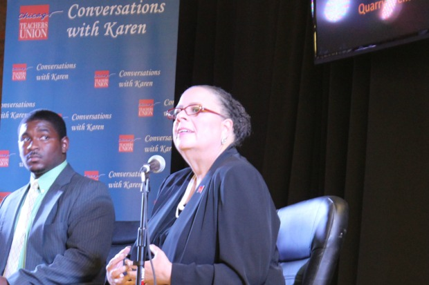 Chicago Teachers Union president Karen Lewis continued her 'listening tour' Monday evening in South Shore as she mulls over a mayoral run.