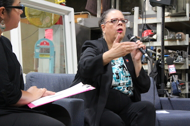 "Karen Lewis stopped short of making any big announcements at a Southwest Side stop on her ""Conversations with Karen"" tour."