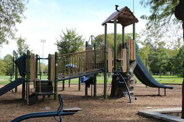 The upgrades at McKinley Park include a treehouse-style jungle gym and new swings.