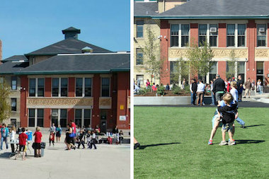 Ravenswood Elementary's outdoor space has been transformed from an asphalt lot to a green oasis.