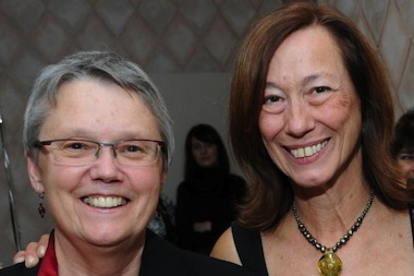 Former owners and co-founders of Women and Children First, Ann Christopherson and Linda Bubon