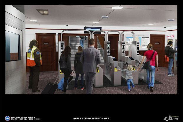 "Renderings of what the CTA Damen Blue Line ""L"" station will look like after renovations are complete.   The station is scheduled to close Oct. 20 and will reopen Dec. 22."