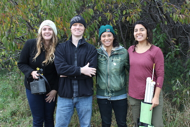 DePaul University students (from left) Alyssa Marcy, Spencer Barrett, Lisa Kenny and Veronica Jachowski are part of Chicago Wildsounds, a soundscaping project that records the sonic signature of the city's lakefront.