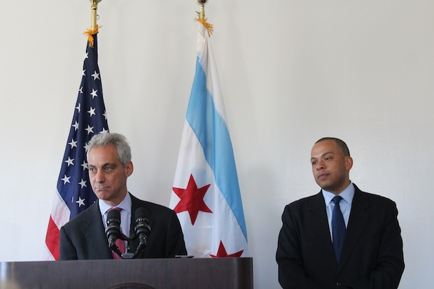 Mayor Rahm Emanuel (fromleft) and city Tresasurer Kurt Summers