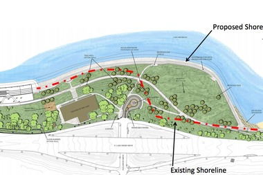 A rendering of the proposed Fullerton Revetment project shows the existing shoreline in red, and plans for the expanded park.