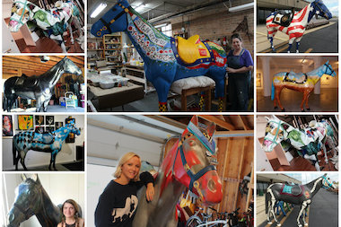 Jenny Learner (c., top) and Erika Vazzana (c., bottom) are just two of the 14 Bridgeport-area artists who've contributed to the Horses of Honor public art project.