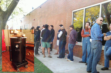 The barbecue lovers have a smoker on wheels and two 15-pound briskets ready for the 10-hour wait.