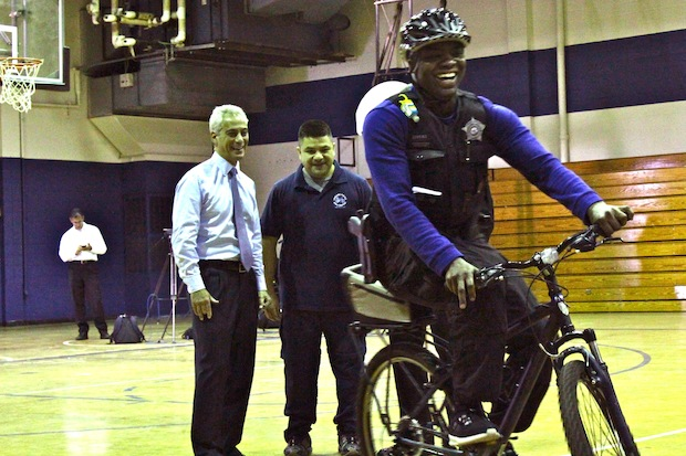 Mayor Rahm Emanuel and Chicago Police Supt. Garry McCarthy toured the police bike unit training facility in Old Town Tuesday morning.