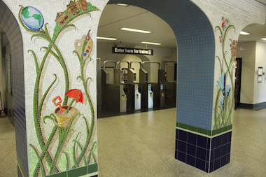 "Jim Bachor's mosaic was installed this month at the Thorndale ""L"" station."