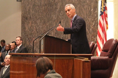 "Mayor Rahm Emanuel emphasizes how his 2015 budget ""touches every part of the city."""