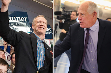 Republican Bruce Rauner and Pat Quinn were neck and neck in the 43rd Ward.
