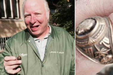 A ring that was lost in 1972 was found last week by Windy City Detector Sales and Rental Inc. James Murphy holds up the ring.