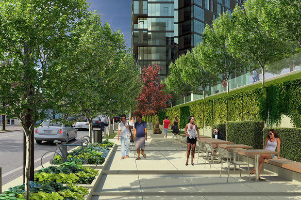 Developers presented Logan Square residents with renderings of a proposed development that would bring two 11- and 15-story buildings to a set of vacant lots at 2255-93 N. Milwaukee Ave., 2208-26 N. Washtenaw Ave. and 2715-35 W. Belden Ave. — just southeast of California and Milwaukee avenues.