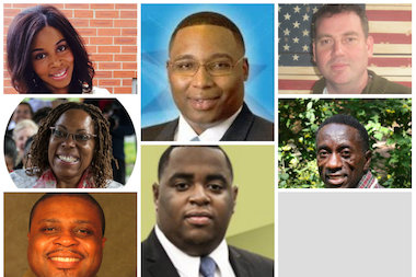 Left column: Jasmine Jackson; Tammie Vinson; Alex M. Lyons; Middle: Ald. Jason Ervin; Marseil Jackson; Right column: William Siegmund; Willie McGill. Not pictured: Elliot Thomas