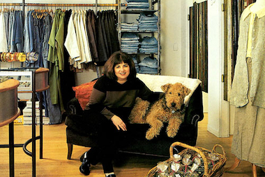 Esther Fishman poses with her dog Willa in the original Art Effect store in 1988.