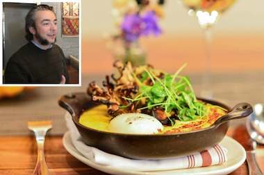 A wood-fired mushroom and pumpkin polenta is available at A10 in Hyde Park, a new addition to the 2015 Bib Gourmand list. Inset: A10 owner Matthias Merges.