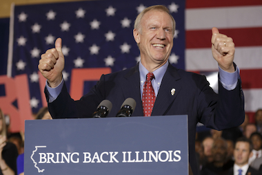 Republican gubernatorial candidate Bruce Rauner declares victory during his election night gathering while incumbent Democratic Gov. Pat Quinn is yet to concede on November 4, 2014 in Chicago, Illinois. Rauner leads by over 170,000 votes with 98 percent reporting.