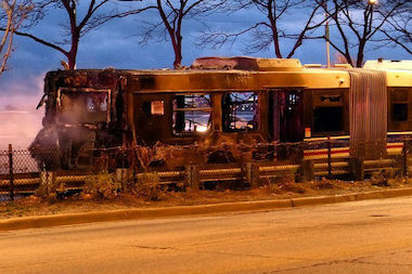 A CTA bus caught fire Tuesday morning on southbound Lake Shore Drive.
