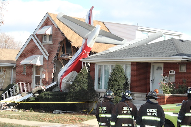 Plane Crashes Into Home Near Midway Lands Eight Inches Away From