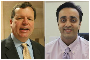 "City Council watchdog Faisal Khan (r.) demanded an apology from Ald. Joe Moore Tuesday after the 49th Ward alderman allegedly called Khan's top assistant a ""b----."""