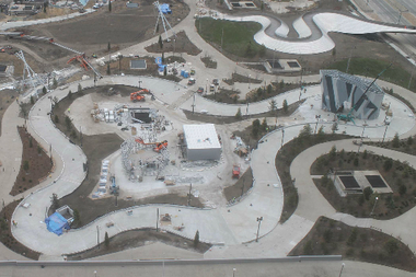 The Maggie Daley ice skating ribbon is nearly complete, as seen in this image taken Nov. 14, 2014, by a webcam of the park.