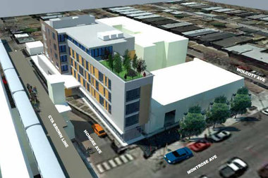 A rendering of the proposed Montrose Green (narrow building on left), slated to become the area's first official transit-oriented development.