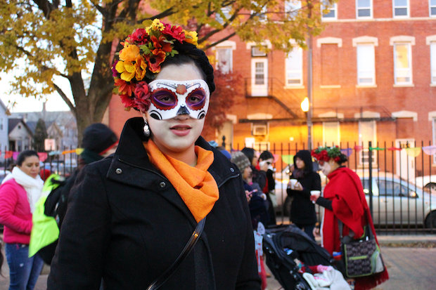 A woman dressed to celebrate a past Dia de los Muertos at Dvorak Park in Pilsen.