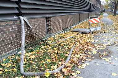 Crews began pumping water out of the Edgewater Medical Center garage this week.