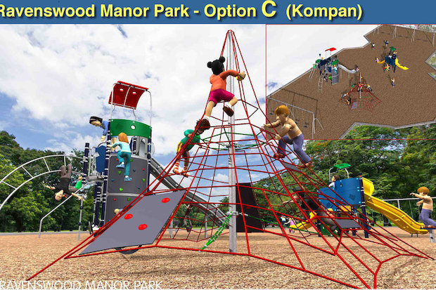 Four playground options have been presented for Ravenswood Manor Park. Voting ends Thursday afternoon.