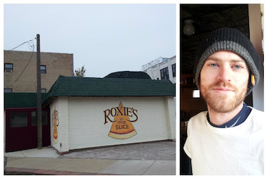 Chef Cameron Magee in front of Roxie's, a new pizza and beer restaurant that is hoping to open this week at 1732 N. Milwaukee Ave.
