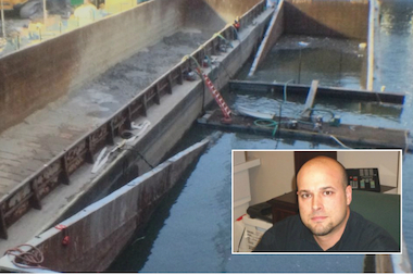 Pete Perich of Lindahl Marine Contractors said his team of underwater divers had to get creative to free a sunken barge from the Chicago River bottom.