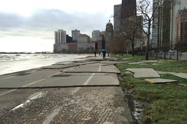 Gold Coast resident Jeff Eisinger took this photo of the lakefront path after it was pounded by Friday's waves.